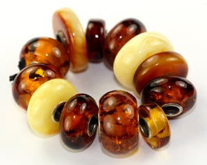 Trollbeads Unique One of a Kind Amber Troll beads.
